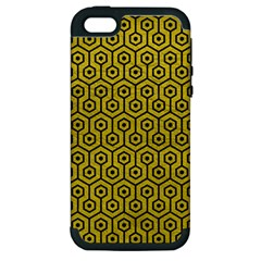 Hexagon1 Black Marble & Yellow Leather Apple Iphone 5 Hardshell Case (pc+silicone)