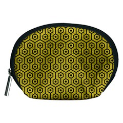 Hexagon1 Black Marble & Yellow Leather Accessory Pouches (medium)