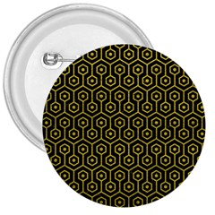 Hexagon1 Black Marble & Yellow Leather (r) 3  Buttons