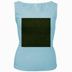 Hexagon1 Black Marble & Yellow Leather (r) Women s Baby Blue Tank Top
