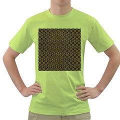Hexagon1 Black Marble & Yellow Leather (r) Green T Shirt