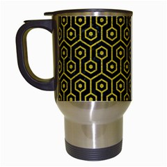 Hexagon1 Black Marble & Yellow Leather (r) Travel Mugs (white)