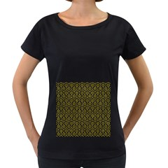 Hexagon1 Black Marble & Yellow Leather (r) Women s Loose Fit T Shirt (black)