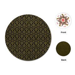 Hexagon1 Black Marble & Yellow Leather (r) Playing Cards (round)