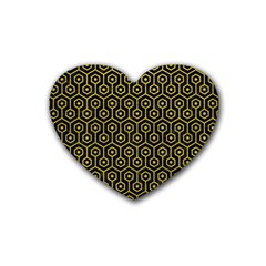 Hexagon1 Black Marble & Yellow Leather (r) Heart Coaster (4 Pack)