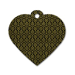 Hexagon1 Black Marble & Yellow Leather (r) Dog Tag Heart (two Sides)