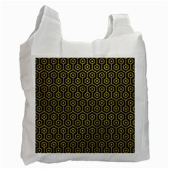 Hexagon1 Black Marble & Yellow Leather (r) Recycle Bag (two Side)