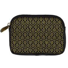 Hexagon1 Black Marble & Yellow Leather (r) Digital Camera Cases