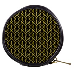 Hexagon1 Black Marble & Yellow Leather (r) Mini Makeup Bags