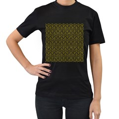 Hexagon1 Black Marble & Yellow Leather (r) Women s T Shirt (black)