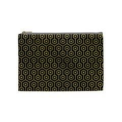 Hexagon1 Black Marble & Yellow Leather (r) Cosmetic Bag (medium)