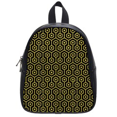 Hexagon1 Black Marble & Yellow Leather (r) School Bag (small)