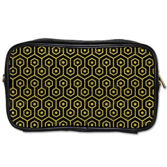 Hexagon1 Black Marble & Yellow Leather (r) Toiletries Bags 2 Side