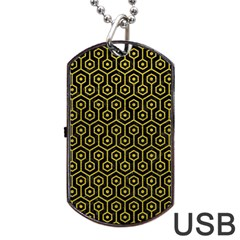 Hexagon1 Black Marble & Yellow Leather (r) Dog Tag Usb Flash (two Sides)