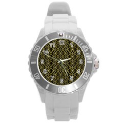 Hexagon1 Black Marble & Yellow Leather (r) Round Plastic Sport Watch (l)
