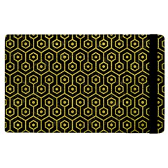 Hexagon1 Black Marble & Yellow Leather (r) Apple Ipad 2 Flip Case
