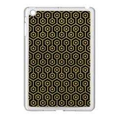 Hexagon1 Black Marble & Yellow Leather (r) Apple Ipad Mini Case (white)