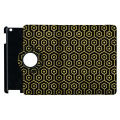 Hexagon1 Black Marble & Yellow Leather (r) Apple Ipad 2 Flip 360 Case