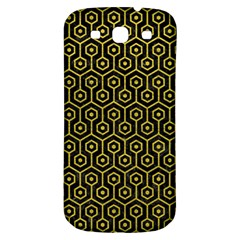 Hexagon1 Black Marble & Yellow Leather (r) Samsung Galaxy S3 S Iii Classic Hardshell Back Case