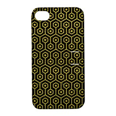 Hexagon1 Black Marble & Yellow Leather (r) Apple Iphone 4/4s Hardshell Case With Stand