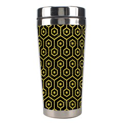 Hexagon1 Black Marble & Yellow Leather (r) Stainless Steel Travel Tumblers