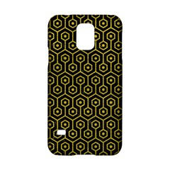 Hexagon1 Black Marble & Yellow Leather (r) Samsung Galaxy S5 Hardshell Case