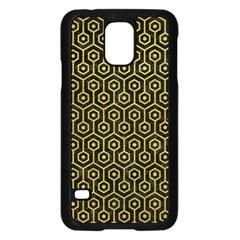 Hexagon1 Black Marble & Yellow Leather (r) Samsung Galaxy S5 Case (black)