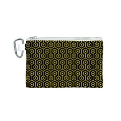 Hexagon1 Black Marble & Yellow Leather (r) Canvas Cosmetic Bag (s)