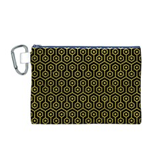 Hexagon1 Black Marble & Yellow Leather (r) Canvas Cosmetic Bag (m)