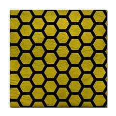 Hexagon2 Black Marble & Yellow Leather Tile Coasters