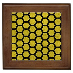 Hexagon2 Black Marble & Yellow Leather Framed Tiles