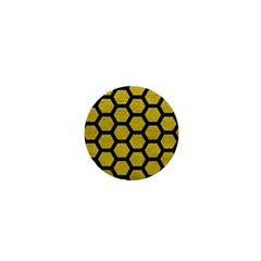 Hexagon2 Black Marble & Yellow Leather 1  Mini Buttons