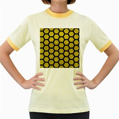 Hexagon2 Black Marble & Yellow Leather Women s Fitted Ringer T Shirts
