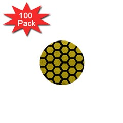 Hexagon2 Black Marble & Yellow Leather 1  Mini Buttons (100 Pack)