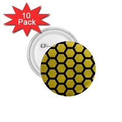 Hexagon2 Black Marble & Yellow Leather 1 75  Buttons (10 Pack)