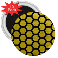 Hexagon2 Black Marble & Yellow Leather 3  Magnets (10 Pack)