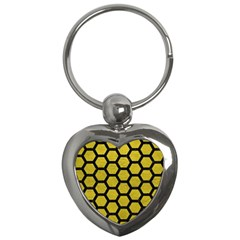 Hexagon2 Black Marble & Yellow Leather Key Chains (heart)
