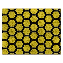 Hexagon2 Black Marble & Yellow Leather Rectangular Jigsaw Puzzl