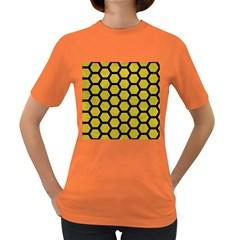 Hexagon2 Black Marble & Yellow Leather Women s Dark T Shirt