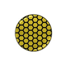 Hexagon2 Black Marble & Yellow Leather Hat Clip Ball Marker (4 Pack)