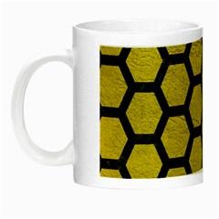 Hexagon2 Black Marble & Yellow Leather Night Luminous Mugs
