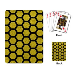 Hexagon2 Black Marble & Yellow Leather Playing Card