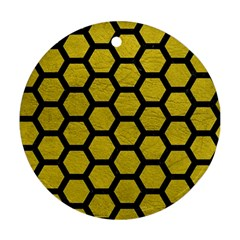 Hexagon2 Black Marble & Yellow Leather Round Ornament (two Sides)