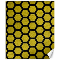 Hexagon2 Black Marble & Yellow Leather Canvas 8  X 10