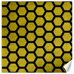 Hexagon2 Black Marble & Yellow Leather Canvas 12  X 12