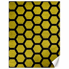 Hexagon2 Black Marble & Yellow Leather Canvas 12  X 16