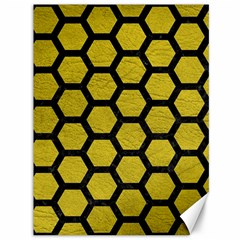 Hexagon2 Black Marble & Yellow Leather Canvas 36  X 48