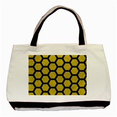 Hexagon2 Black Marble & Yellow Leather Basic Tote Bag (two Sides)