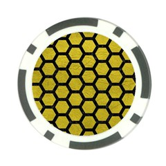 Hexagon2 Black Marble & Yellow Leather Poker Chip Card Guard