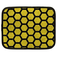 Hexagon2 Black Marble & Yellow Leather Netbook Case (large)